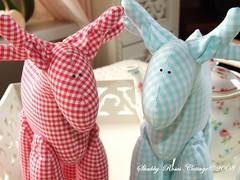 Reindeer (*ShabbyRosesCottage*) Tags: blue red white aqua gingham tilda karo vichy rentiere kariert tildashaus