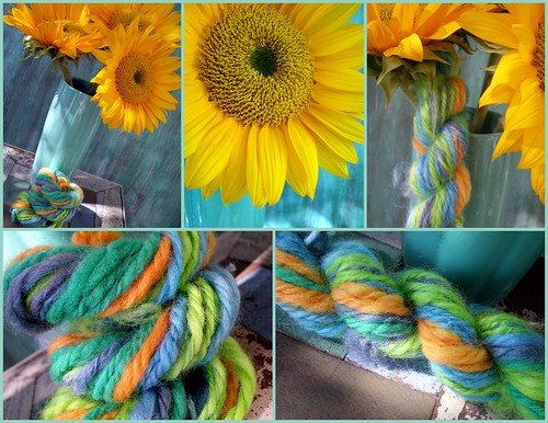 Collage of Sunflowers and Handspun, Hand-Dyed Yarn