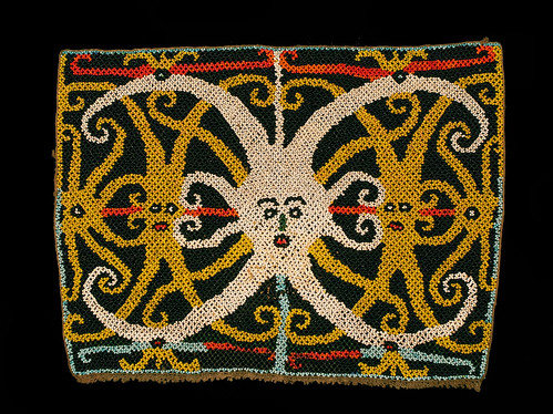 //Bead Panel// from a baby carrier, Bahau people, Borneo 20th century, 34 x 25 cm. From the Teo Family collection, Kuching. Photograph by D Dunlop.