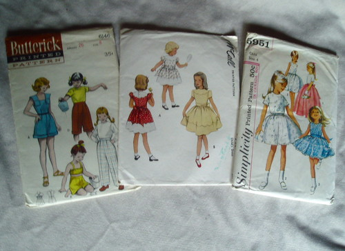 dress patterns for little girls. Set of vintage dress patterns