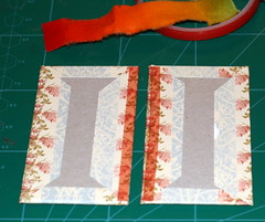 Attaching a fabric strip to create the spine of the book