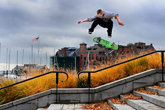 Skateboarding (noamgalai) Tags: man guy leaves sport boston clouds stairs fly flying photo kid jump jumping skateboarding picture photograph skateboard allrightsreserved usflag   usaflag  noamg noamgalai     sitemain sitesports
