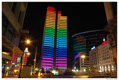 Put the Volume Up ! (Ben Heine) Tags: show street city longexposure light brussels urban building art colors mystery architecture floors skyscraper u2 dance high