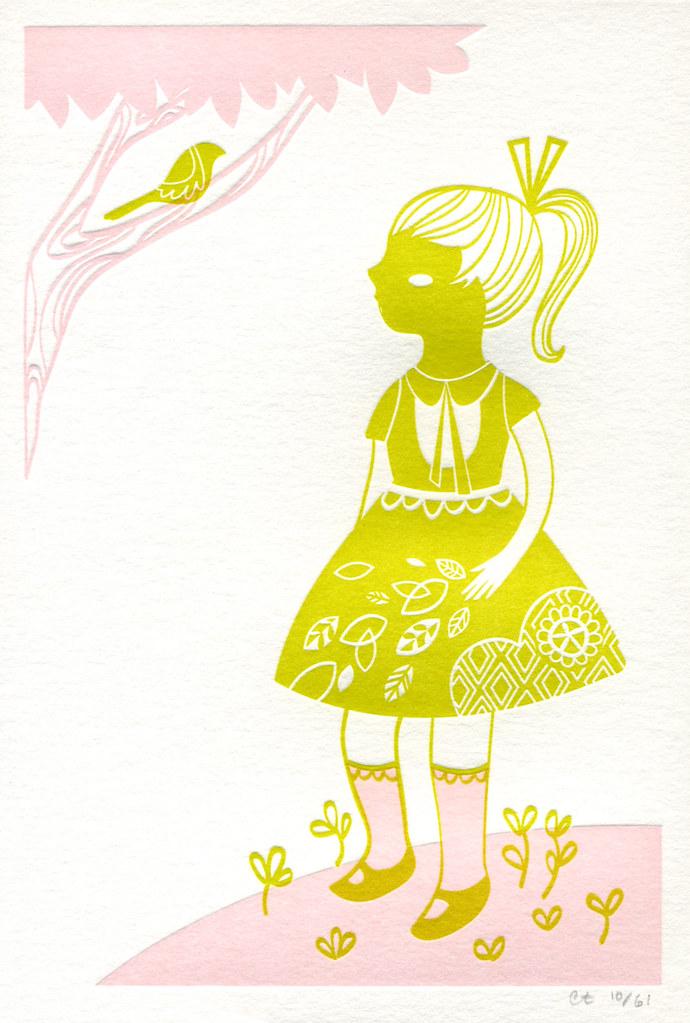 60s Girl Letterpress Print