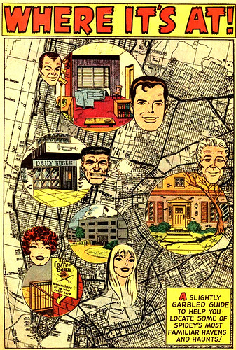 """Where It's At!"" (Map of Spider-Man's Manhattan and environs), from Amazing Spider-Man Annual #5"
