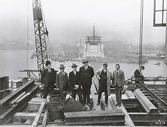 Inspecting the construction of the Sydney Harbour Bridge (State Records NSW) Tags: people blackandwhite workers construction harbour ships sydney bridges archives newsouthwales watercraft sydneyharbourbridge ohs bradfield inspectors staterecordsnsw