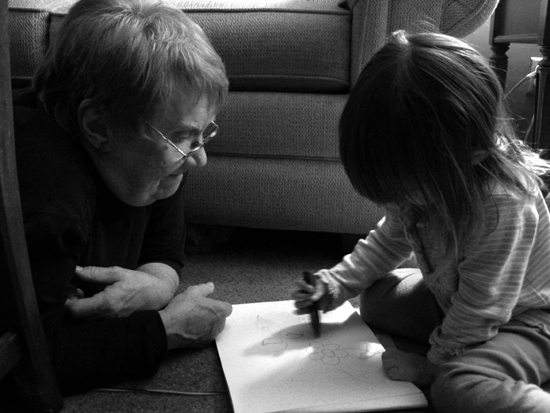 My Mom Watches My Niece Draw (Click to enlarge)