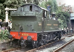 Preserved 45xx 2-6-2T no.4555. Bromyard. 13 June 1964 (ricsrailpics) Tags: uk colour steam 1964 bromyard 4555 exgwr gwrlivery slsspecial 45xxclass agfacolorct18 uksteampool