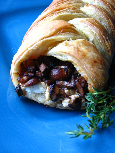 Wild Mushroom and Goat Cheese Puff Pastry Braid