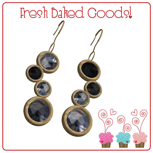 ~*Fresh Baked Goods*~ Black & White Sugar Gold Thumprint Cookie Earrings