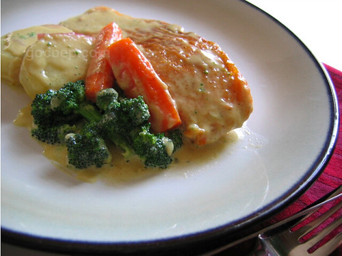 Salmon and veges with creamy sauce