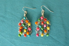 Knitted earrings - vibrant