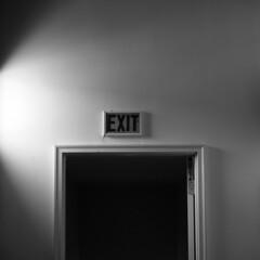 . (kayovv) Tags: door light shadow bw white black wall square blackwhite exit negroyblanco