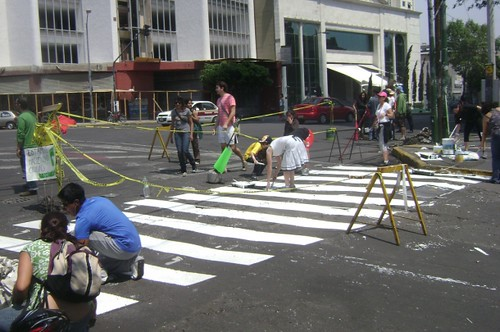 citizens paint a crosswalk in Mexico City (by: Camina Haz Ciudad via This Big City)