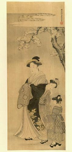 Una dama bajo los arboles en flor- artista Shunshô Katsukawa.j-contraste corregido