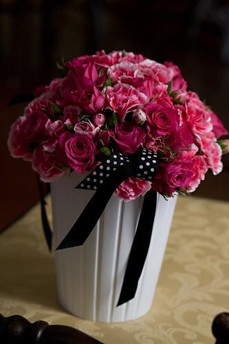 Pink rose and carnation centerpiece 2 by lisa@flowerworks.biz.