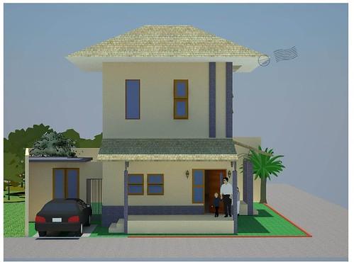 Gambar Arsitektur Rumah, Contoh Desain Rumah Tampak Samping Muka dari Anna hape Studio