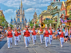 Disney - Main Street Band in LucisArt (Express Monorail) Tags: usa walt waltdisney waltdisneyworld wdw themepark blueskies street sonydsch2 saturation paintshopprophotox2 orlando noiseninja mybox300 mainstreetusa mainstreet main magickingdom kingdom lucis lucisart magic highdynamicrange hdr gimp florida facade disneysign disneyshop dynamicphotohdr disneyworld disneyparks disneyicon disney colorful colors clouds cinderellacastle cinderella castmember castle art 2007 mainstreetband may band parade