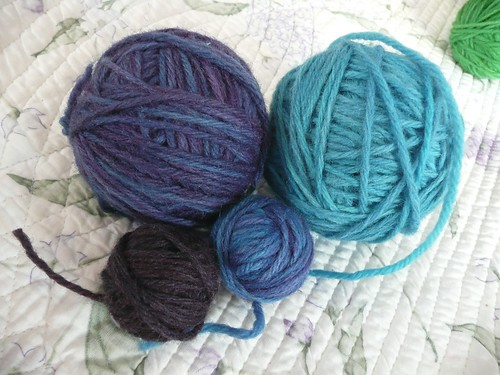 Blue wool yarn