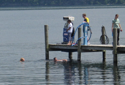 Early swimmers in Seneca Lake