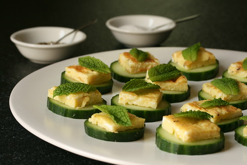 Egg, Mint and Cucumber Canapes