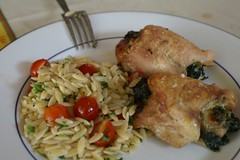 spinach + brie chicken with tomato orzo