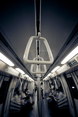 hang on (blu_barbie) Tags: blue monochrome train mono singapore emotion personal quote interior tint transportation hold