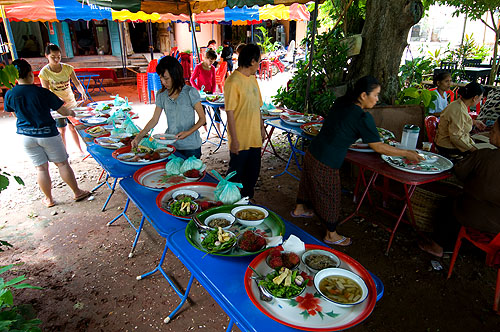 Setting up for a funeral meal, Luang Prabang