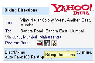 Yahoo Maps India has Biking Directions