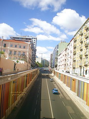 My way (MadalenaPestana) Tags: street blue houses sky portugal colors clouds way lisboa picturesque 5photosaday aplusphoto madalenapestana ilustrarportugal grouptripod infantesantoavenue