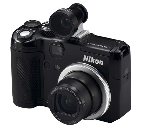 Nikon P6000 with NH-VF28 external optical viewfinder and NH-AR1 silver ring for fitting accessories