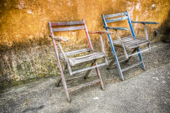 Lost (nrtphotos) Tags: old orange canada color broken wall contrast concrete island high cool chair ancient paint dynamic decay columbia faded adobe seats british mold saltspring range hdr lightroom photomatix
