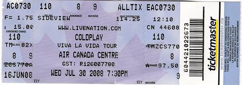 Coldplay Concert Ticket