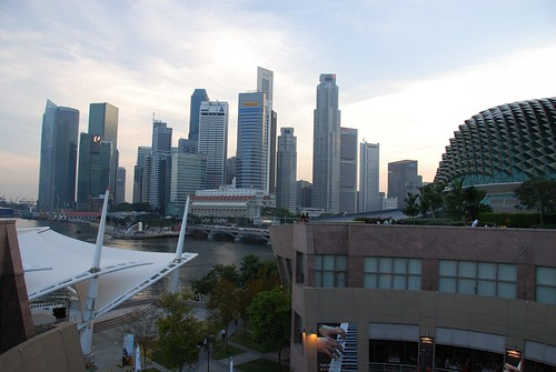 View of the business district from the Esplanade Singapore's cultural cantre and concert hall