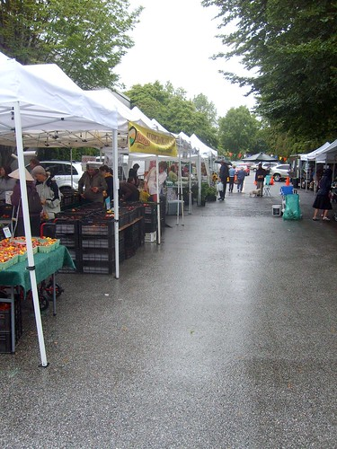 Dedicated shoppers under tent
