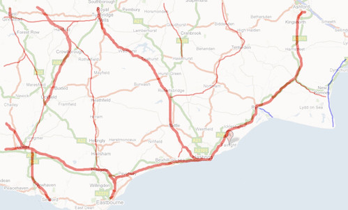 The real railway network in East Sussex