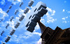 Space Invaders: Eiffel Tower (Pixel Fantasy) Tags: wallpaper sky game clouds real eiffeltower spaceinvaders atari retro