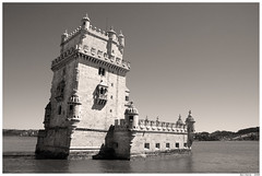 Belem Tower (Ben Heine) Tags: sea castle art portugal sepia architecture island photography memorial power symbol stones miracle lisboa lisbon nation surreal bank massive gateway goldenage block chateau effect fortress forteresse catastrophe vascodagama massif towerofbelem famouslandmark couler solide inthesea manuelinestyle benheine tourdebelem lever senfoncer belmdistrict