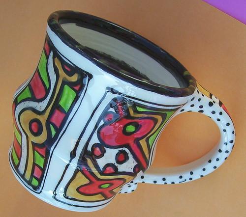 Funky Folk Art Pottery wicked Groovyyyyy muggie mug