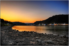 Orange to Blue (Extra Medium) Tags: sunset germany hdr stgoar rhineriver sanktgoar vosplusbellesphotos