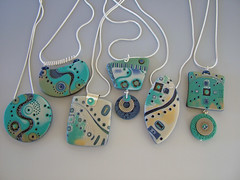Seascape (julie_picarello) Tags: house yellow beads wire julie jewelry clay sterling rivet polymer gane mokume picarello