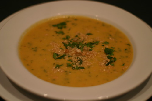 Sweet potato, ginger, and peanut soup