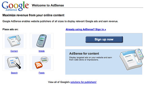 New AdSense Home Page