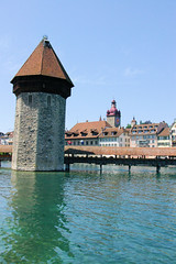 Tower Of Lake Lucern (cwgoodroe) Tags: sun mountain lake snow alps green church statue ferry fairytale swimming switzerland boat europe locals suisse swiss sunny location farms movieset luce swissalps lucern medivil beerpasture