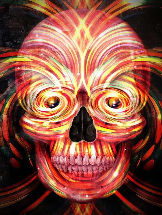 cráneo psocodélico