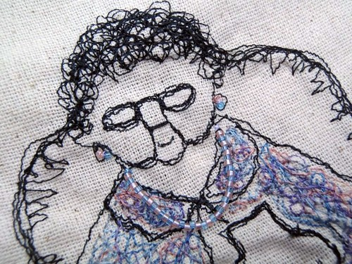 "Hot water bottle cover (""The nanna"") with free motion embroidery"
