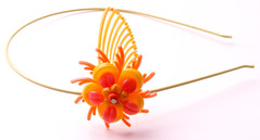 Orange and Yellow Vintage Flowers Headband