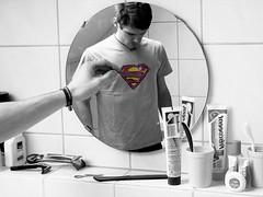"Jeder malt sich selbst sein ""S"" auf die Brust (JFK666) Tags: red bw color colour yellow germany bathroom lumix mirror daniel s andrew superman panasonic explore aachen dmc ebel dendemann fz8 jfk666 ps7180"