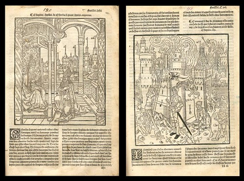 Charlemagne with Pope and Plundering of Castle (1517 edition of 'La mer des histoires')