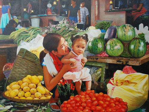 MARKET SCENE PAINTING woman vendor holding a girl child  Philippines Pinoy Filipino Pilipino Buhay  people pictures photos life Philippinen  菲律宾  菲律賓  필리핀(공화국)  special espesyal